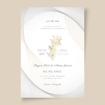 Minimal style wedding card template