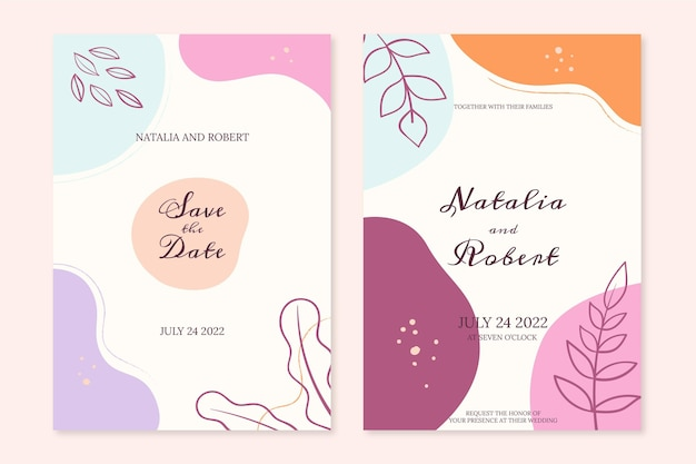 Modello di invito a nozze in stile minimal