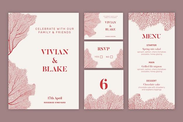 Набор свадебных канцелярских принадлежностей в минималистском стиле