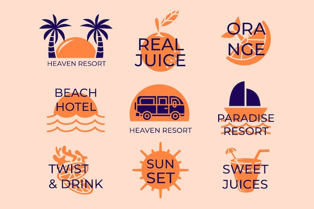 Minimal summer beach logo collection