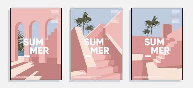 Minimal summer covers set creative posters