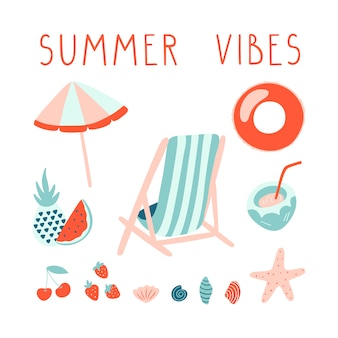 Minimal summer illustration set with lettering.