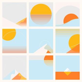 최소한의 여름 태양과 산 자연 풍경 기하학적 배경 모음