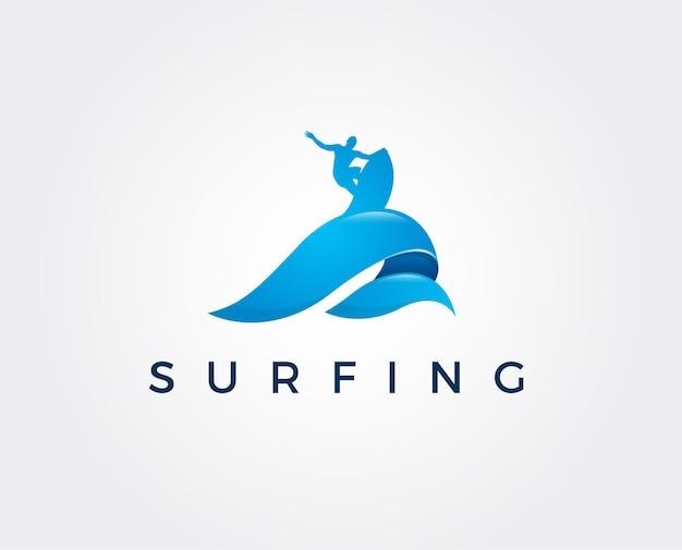 Минимальный шаблон логотипа серфинга