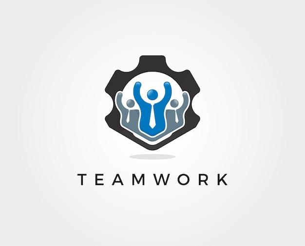 最小限のチームワークのロゴテンプレート-イラスト