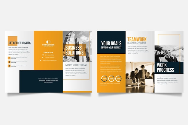 Minimal template for trifold brochure with photo