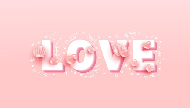 Минимальный текст с фигурами любви на розовом фоне. день святого валентина