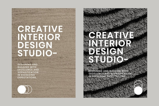 Minimal textured poster template vector for interior company dual set