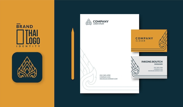 Minimal thai pattern logo  with luxury business card template