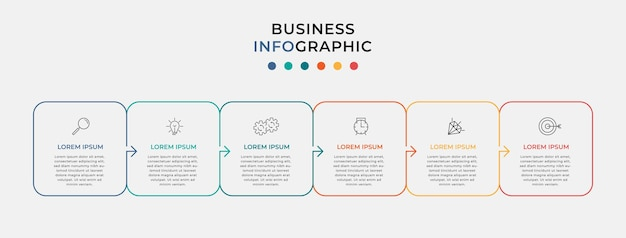 Минимальная тонкая линия шаблон бизнес-инфографики. временная шкала с 6 шагами, вариантами и маркетинговыми значками. векторная линейная инфографика с двумя элементами, соединенными кругом. можно использовать для презентации.