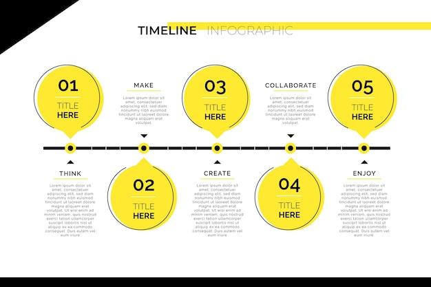 最小限のタイムライン情報グラフィック