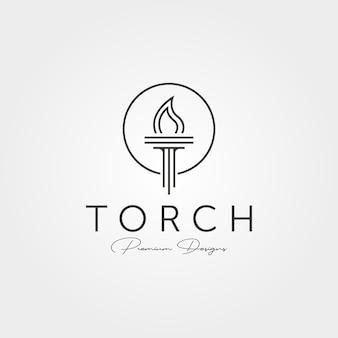 Минимальный факел значок логотипа векторной линии искусства символ иллюстрации дизайн, дизайн логотипа компании