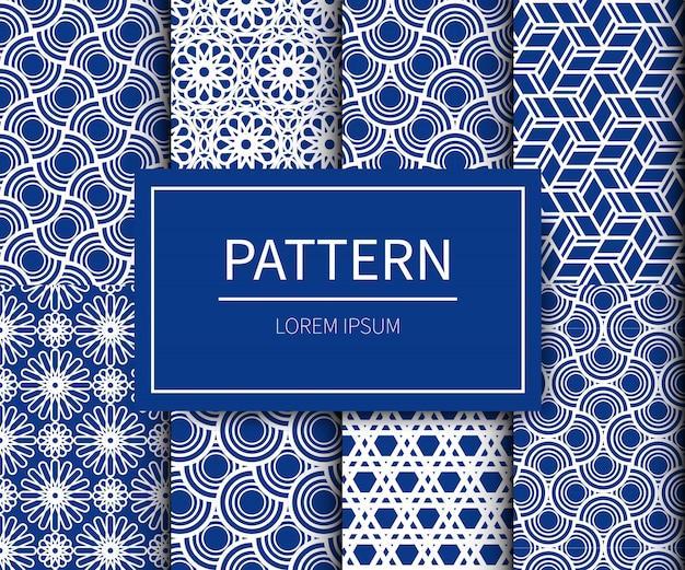 Комплект ткани minimal traditionnal в японском стиле. японский узор в сине-белых тонах.