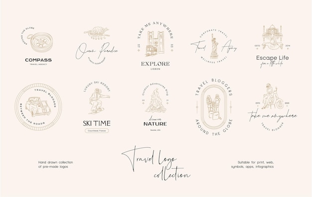 여행사 또는 여행 블로거를 위한 최소한의 여행 벡터 로고 디자인 템플릿 컬렉션