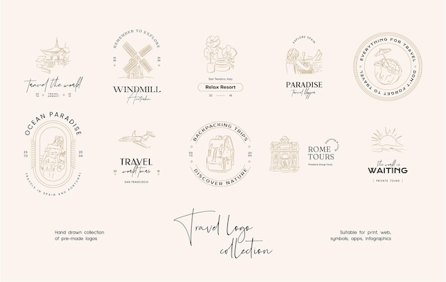 Minimal travel vector logo design template collection for travel agency or travel bloggers
