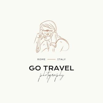 旅行代理店の旅行ブロガー写真家のための最小限の旅行ベクトルロゴデザインテンプレート
