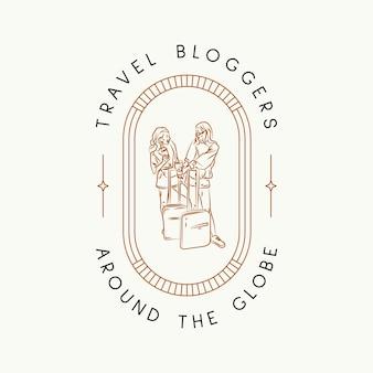 Minimal travel vector logo design template for travel agency travel bloggers photographers