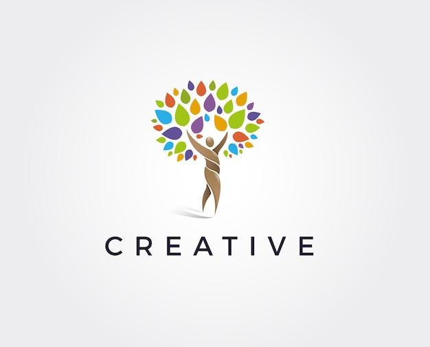 Minimal tree people logo template