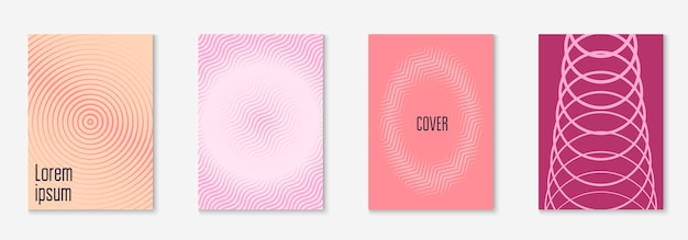 Minimal trendy cover template set. futuristic layout with halftones. geometric minimal cover template for book, catalog and annual. minimalistic colorful gradients. abstract business illustration.