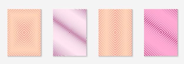 Набор минимальных модных шаблонов обложки. футуристический макет с полутонами. геометрический минимальный шаблон обложки для книги, каталога и ежегодника. минималистичные красочные градиенты. абстрактная деловая иллюстрация.