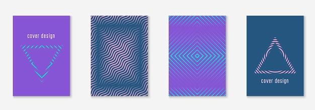 최소한의 트렌디한 표지 템플릿 세트입니다. 하프톤이 있는 미래형 레이아웃입니다. 책, 카탈로그 및 연간을 위한 기하학적 최소 표지 템플릿입니다. 최소한의 다채로운 그라디언트. 추상 비즈니스 그림입니다.