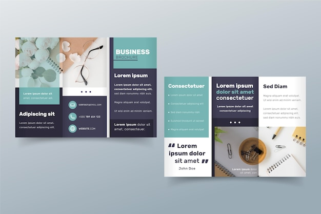 Minimal trifold brochure template with front and back