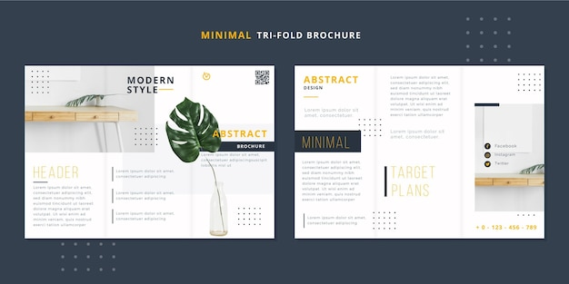 Minimal trifold brochure template with photo