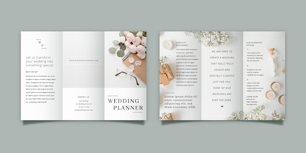 Minimal trifold brochure with front and back