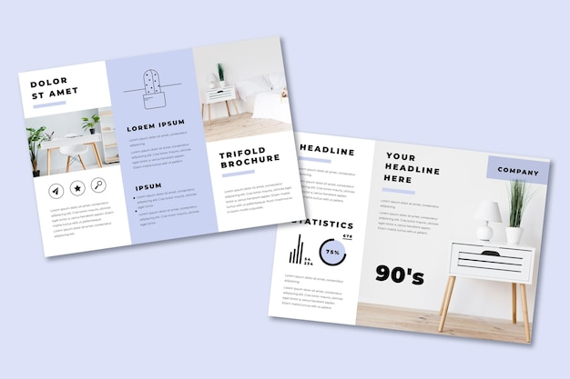 Minimal trifold brochure with furniture