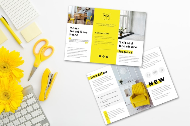 Minimal trifold brochure with stationery items and flowers
