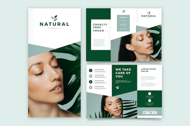 Minimal trifold brochure with woman avatar