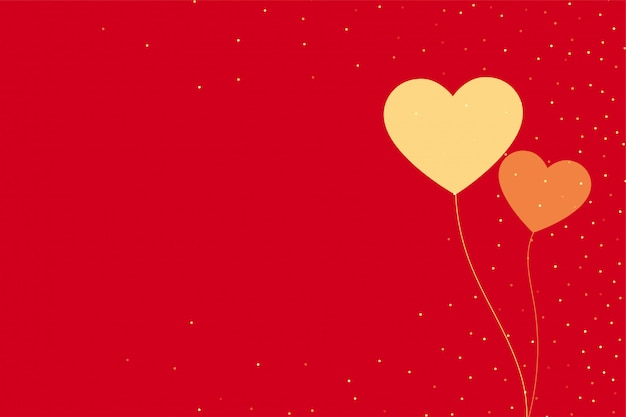 Minimal two flying hearts on red backround