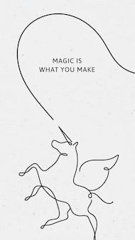 最小限のユニコーンiphoneの壁紙テンプレート、魔法はあなたが引用ベクトルを作るものです