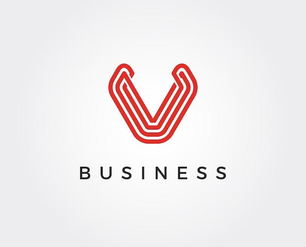 Minimal v letter logo template