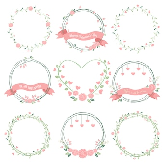 Minimal valentines wreath in pastel color