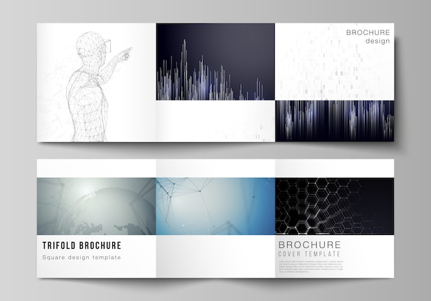 The minimal vector editable layout of square format covers