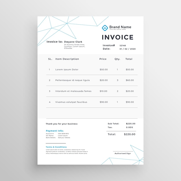 Free Minimal Vector Invoice Template Design Svg Dxf Eps Png Free Svg Files For Download For Best Project