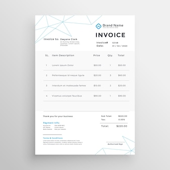 Minimal vector invoice template design