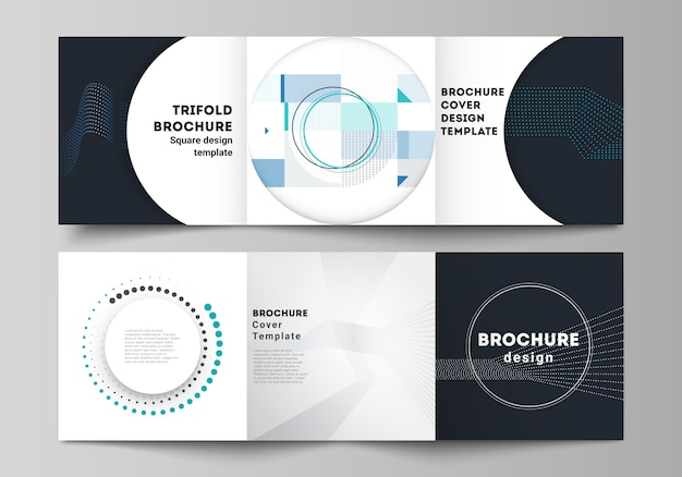 The minimal vector layout of two square format covers design templates