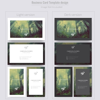 Minimal vertical & horizontal business card with image