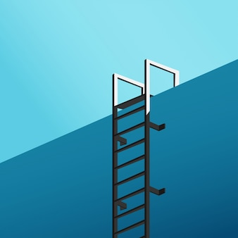 Minimal view from the bottom of the swimming pool with stair and blue sky in blackground in cold blue tone