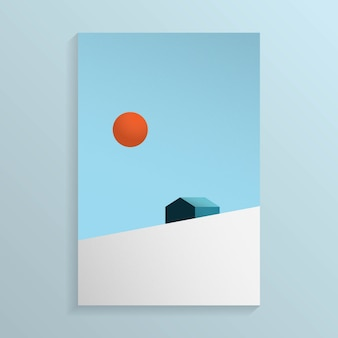 Minimal view of the house on the snow mountain hill with the sun in the sky