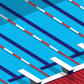 Minimal view of the swimming pool in3d minimal style with spring board beside the pool