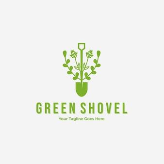 最小限のヴィンテージシャベル掘る庭のロゴ、ガーデニング常緑の概念のイラストベクトルデザイン