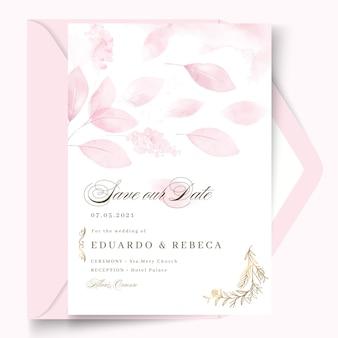 花びらを持つ最小限のウェディングカードのデザインテンプレート