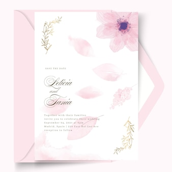 Minimal wedding card design with flower template