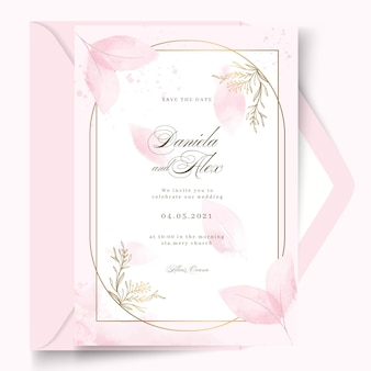 Minimal wedding card design with frame template