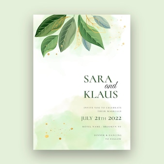 Minimal wedding card with leaves