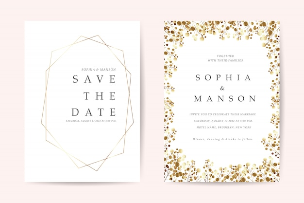 Minimal wedding invitation cards vector