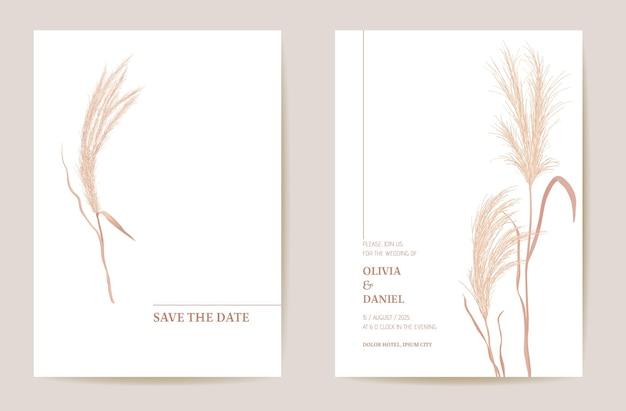 最小限の結婚式の招待状パンパスグラス自由奔放に生きるカード。秋の水彩テンプレートベクトル。植物保存日黄金色の葉のモダンなポスター、トレンディなデザイン、豪華な背景、花のイラスト